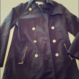 Michael Kors black lined pea coat with gold button